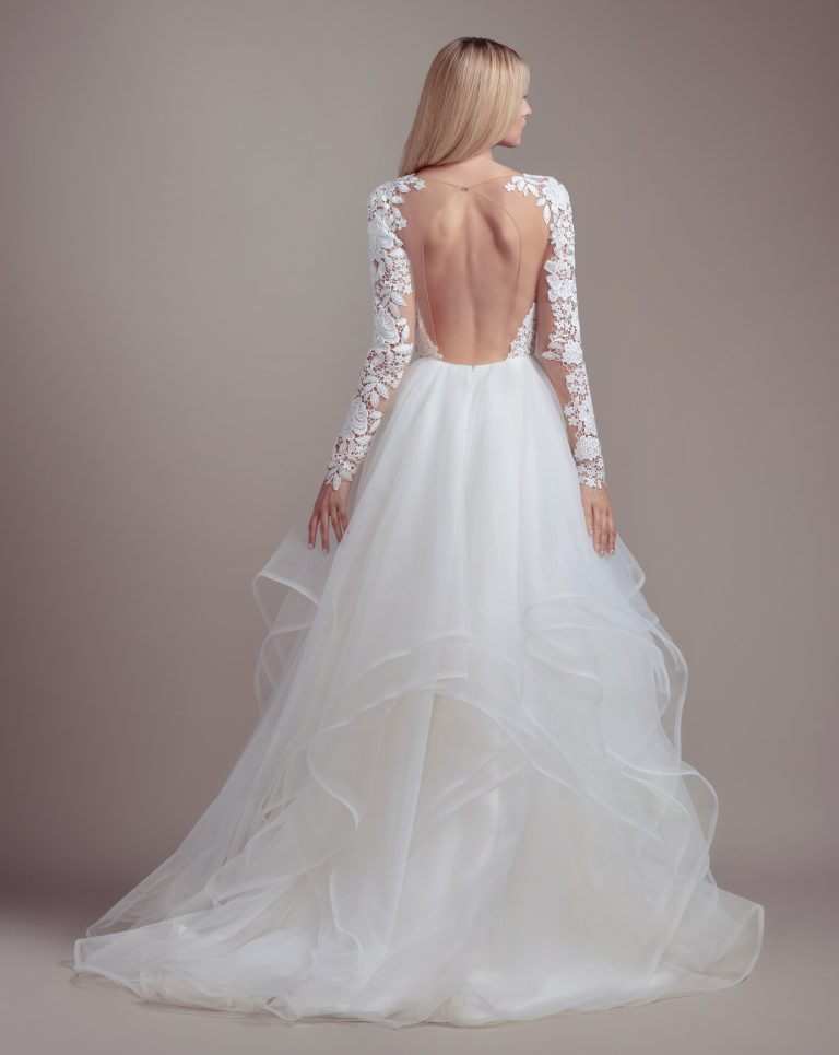 Lace Bodice Long Sleeve Ball Gown Wedding Dress by BLUSH by Hayley Paige - Image 2
