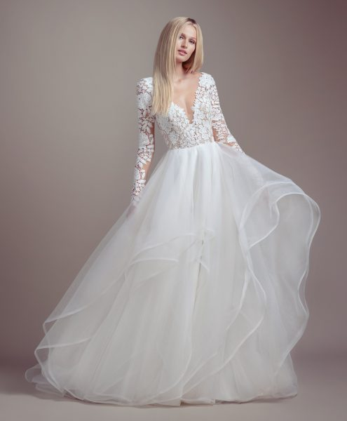 Ivory Lace Bodice Ball Gown Wedding Dress With Sheer Long: Lace Bodice Long Sleeve Ball Gown Wedding Dress