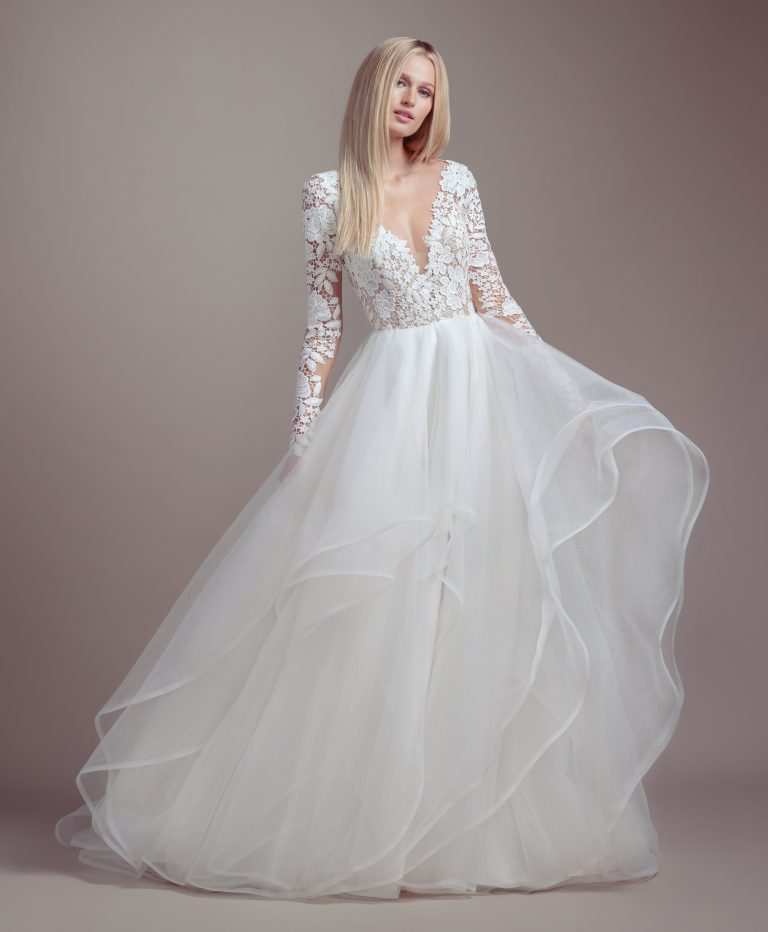 Lace Bodice Long Sleeve Ball Gown Wedding Dress by BLUSH by Hayley Paige - Image 1