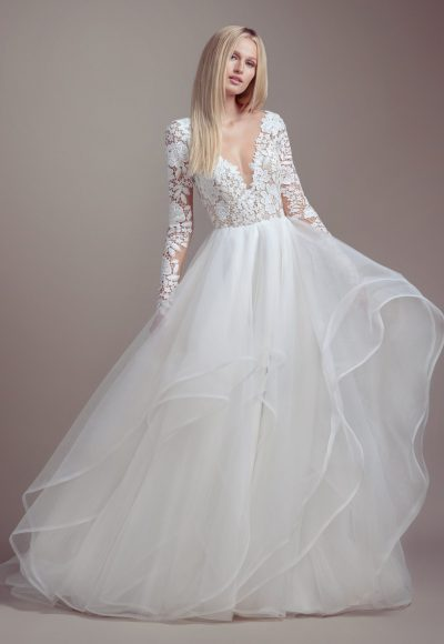 Lace Bodice Long Sleeve Ball Gown Wedding Dress by BLUSH by Hayley Paige