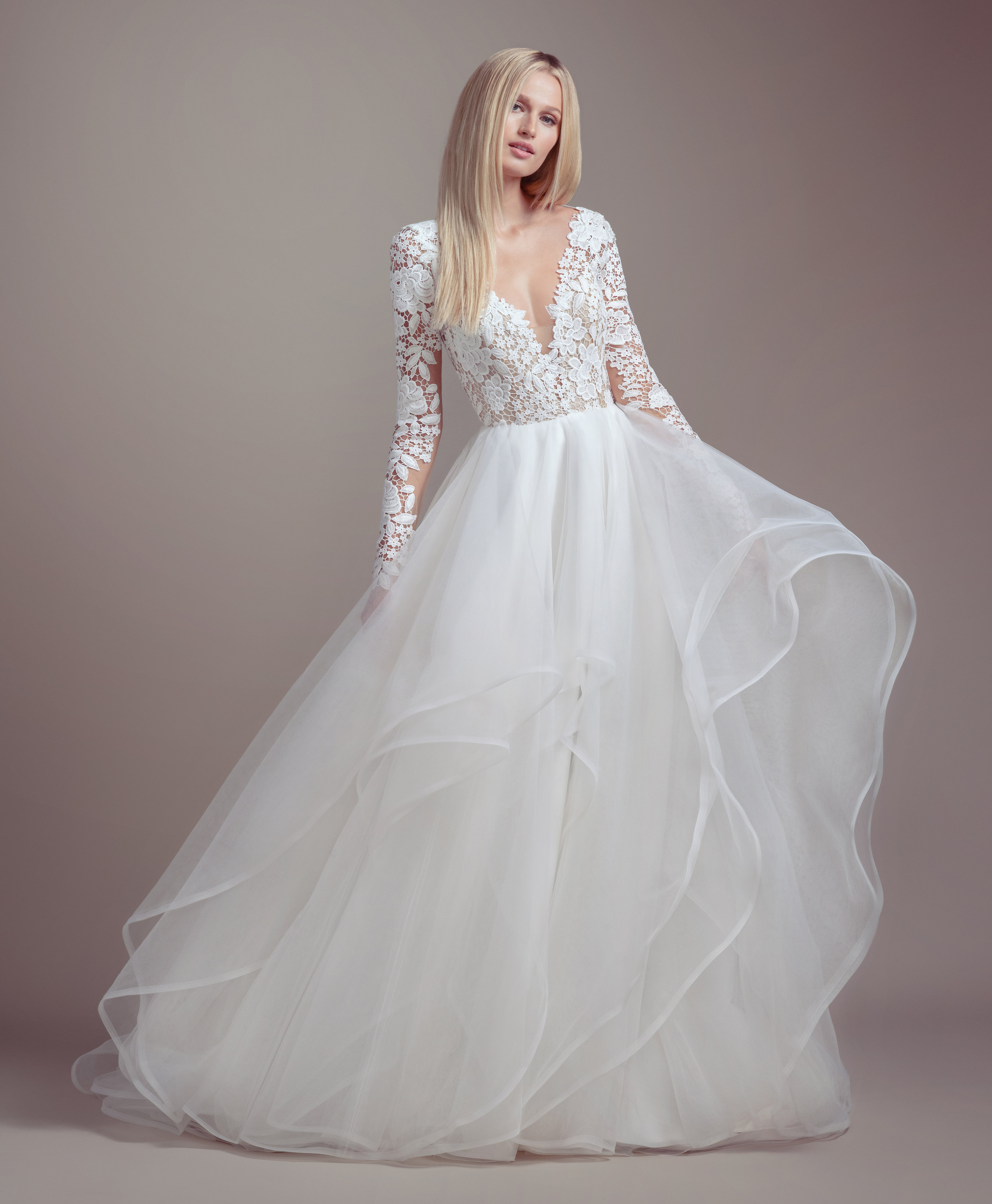 Lace Bodice Long Sleeve Ball Gown Wedding Dress