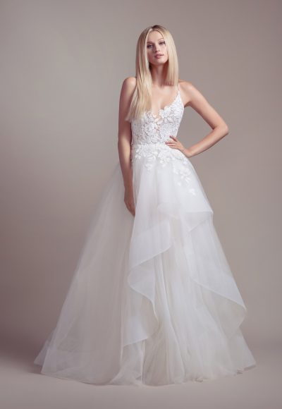 Lace Bodice Spaghetti Strap Ball Gown Wedding Dress by BLUSH by Hayley Paige