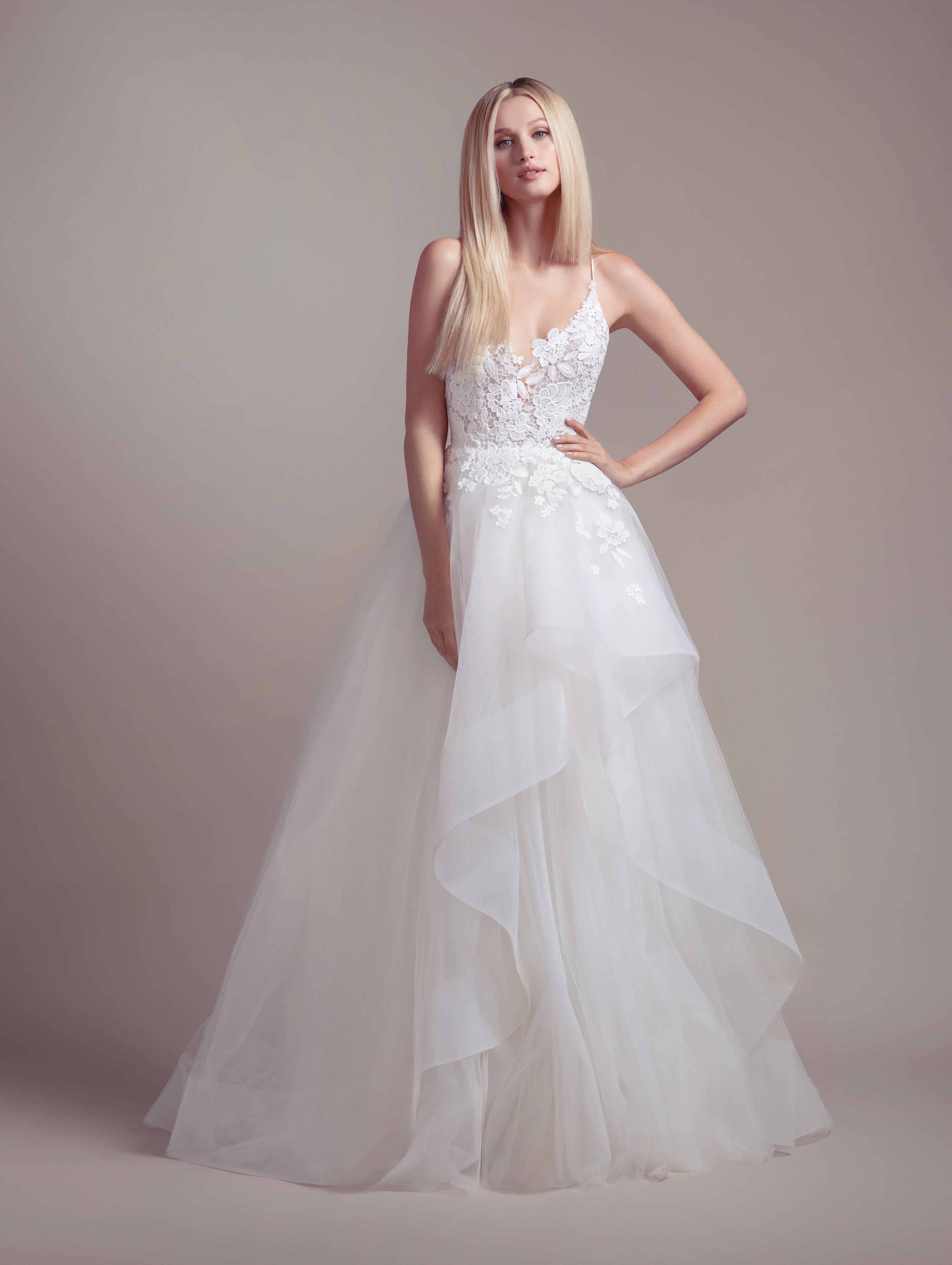 Lace Bodice Spaghetti Strap Ball Gown Wedding Dress