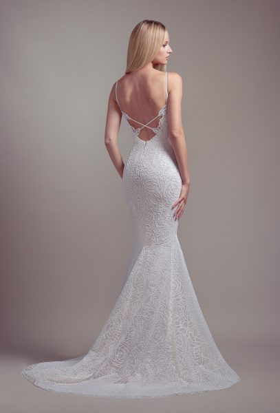 Plunging Sweetheart Neckline Spaghetti Strap Fit And Flare Wedding Dress by BLUSH by Hayley Paige - Image 2