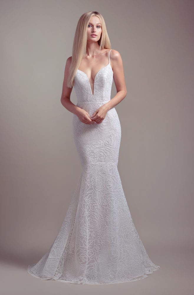 Plunging Sweetheart Neckline Spaghetti Strap Fit And Flare Wedding Dress by BLUSH by Hayley Paige - Image 1