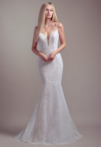 Plunging Sweetheart Neckline Spaghetti Strap Fit And Flare Wedding Dress by BLUSH by Hayley Paige