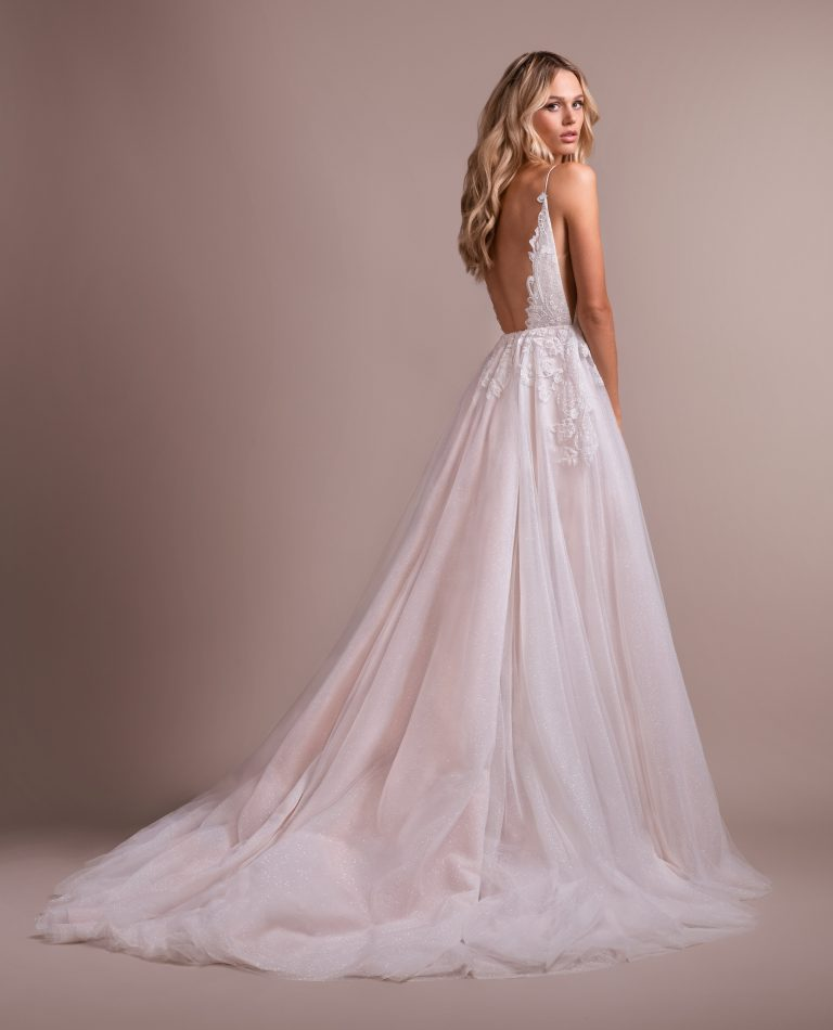 Deep V-neck Lace Detailed Bodice A-line Wedding Dress by Hayley Paige - Image 2