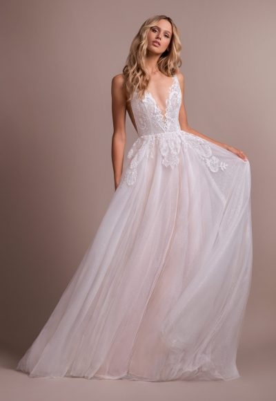Deep V-neck Lace Detailed Bodice A-line Wedding Dress by Hayley Paige