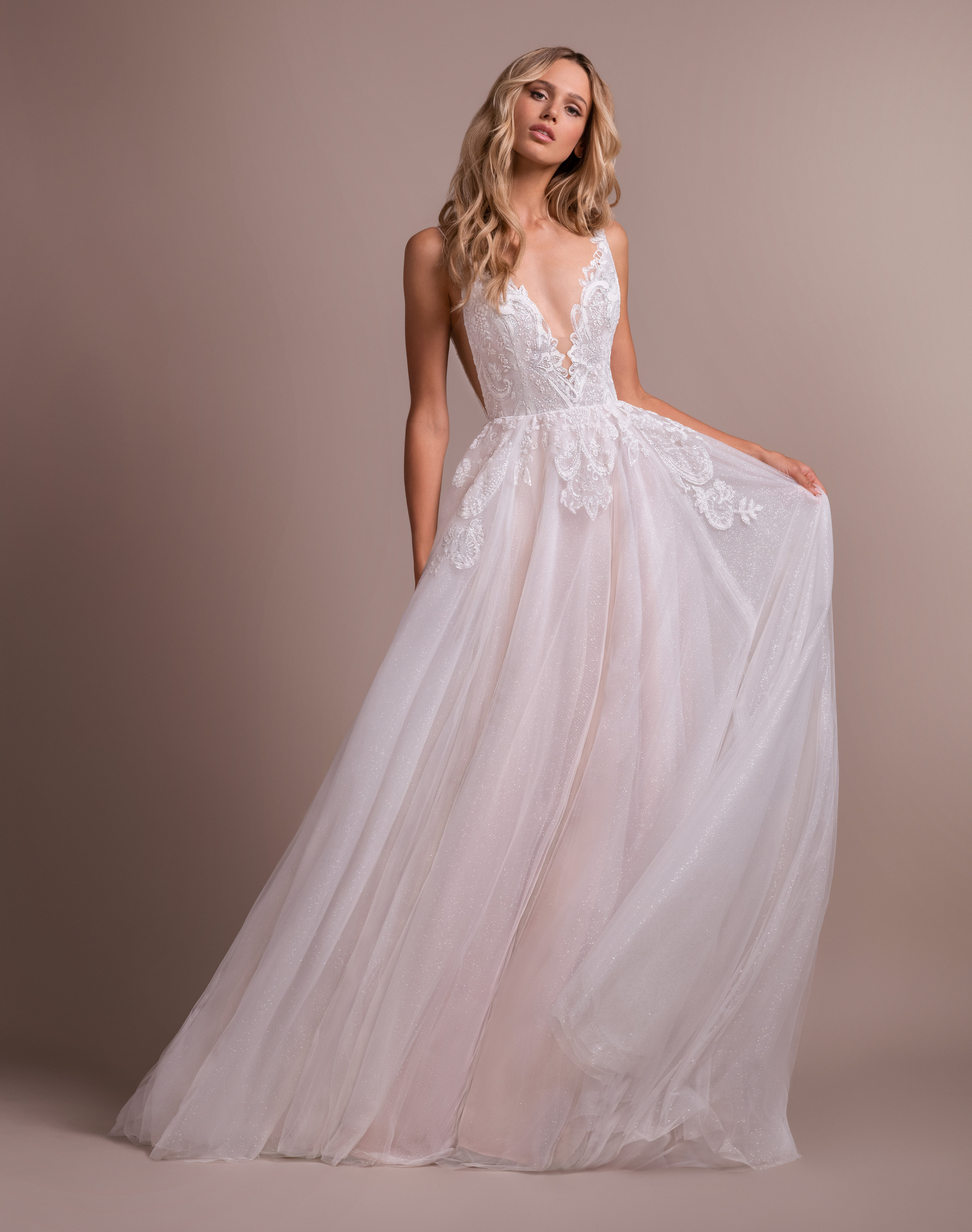 Deep V Neck Lace Detailed Bodice A Line Wedding Dress