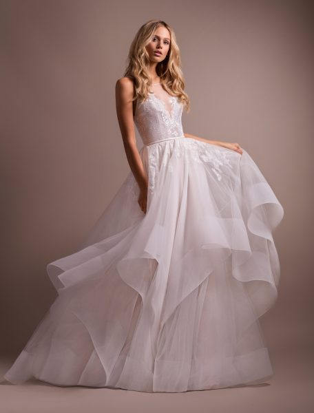 Lace Bodice Tulle Skirt Ball Gown Wedding Dress by Hayley Paige - Image 1