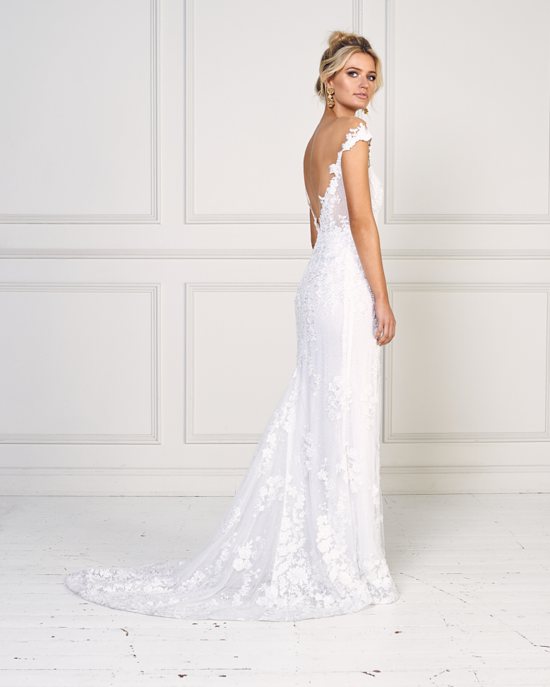 Wedding Gown Stores Nyc: Beaded Lace Off The Shoulder Fit And Flare Wedding Dress