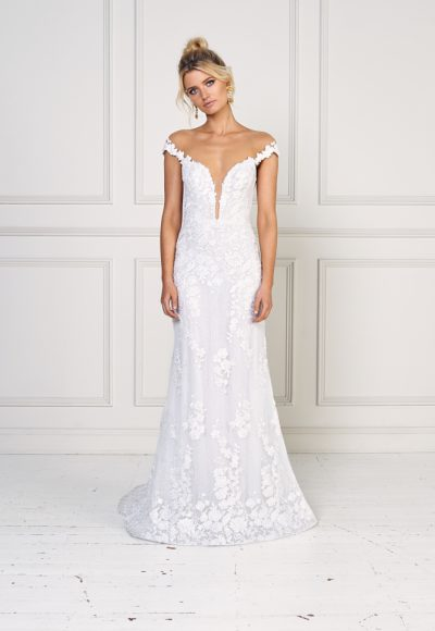 Beaded Lace Off The Shoulder Fit And Flare Wedding Dress by Jane Hill