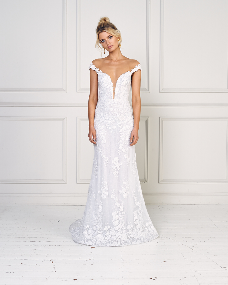 Real Brides Fit And Flare: Beaded Lace Off The Shoulder Fit And Flare Wedding Dress