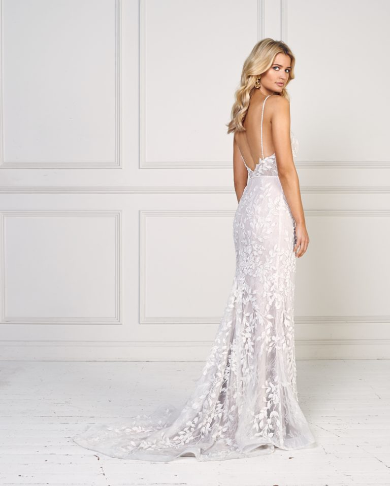 Floral Applique Spaghetti Strap V-neck Fit And Flare Wedding Dress by Jane Hill - Image 2