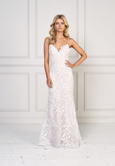 Floral Applique Spaghetti Strap V-neck Fit And Flare Wedding Dress by Jane Hill
