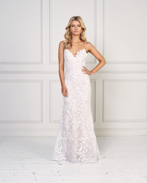 Floral Applique Spaghetti Strap V-neck Fit And Flare Wedding Dress by Jane Hill - Image 1