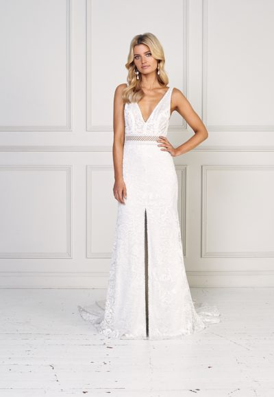 Lace Bodice V-neck A-line Wedding Dress by Jane Hill