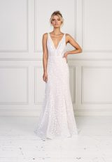 Sleeveless A-line Embroidered Wedding Dress by Jane Hill - Image 1