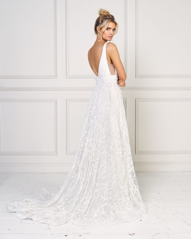 Sleeveless A-line Embroidered Wedding Dress by Jane Hill - Image 2