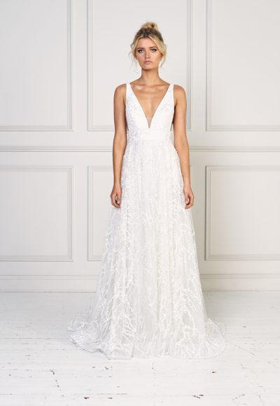Sleeveless A-line Embroidered Wedding Dress by Jane Hill