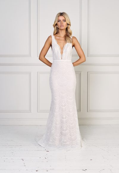 Sleeveless Scallopped Detailed Fit And Flare Wedding Dress by Jane Hill