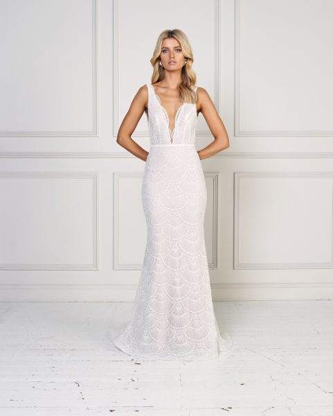 Sleeveless Scalloped Detailed Fit And Flare Wedding Dress by Jane Hill - Image 1