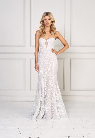 Strapless Floral Embroidered Fit And Flare Wedding Dress by Jane Hill