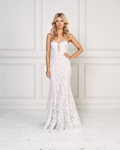 Strapless Floral Embroidered Fit And Flare Wedding Dress by Jane Hill - Image 1