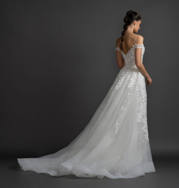 Cold Shoulder A-line Floral Lace Wedding Dress by Lazaro - Image 2
