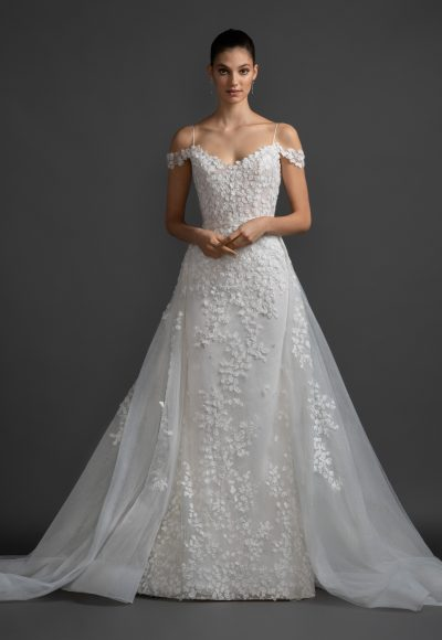 Cold Shoulder A-line Floral Lace Wedding Dress by Lazaro