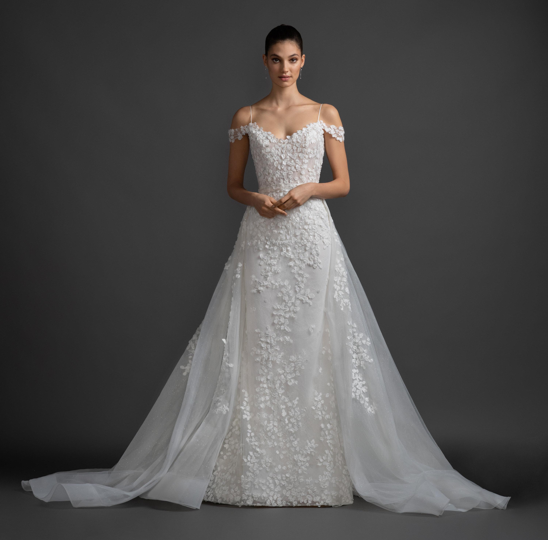 Floral Wedding Dress: Cold Shoulder A-line Floral Lace Wedding Dress