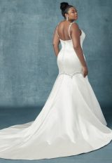 Beaded Spaghetti Strap Satin Fit And Flare Wedding Dress by Maggie Sottero - Image 2