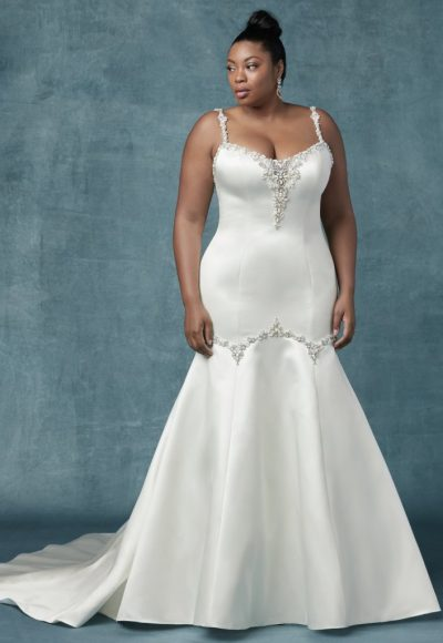 Beaded Spaghetti Strap Satin Fit And Flare Wedding Dress by Maggie Sottero