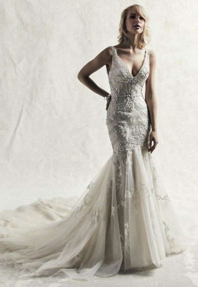 Fully Beaded Sleeveless Fit And Flare Wedding Dress by Maggie Sottero