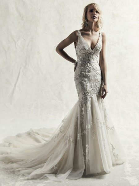 Fully Beaded Sleeveless Fit And Flare Wedding Dress by Maggie Sottero - Image 1