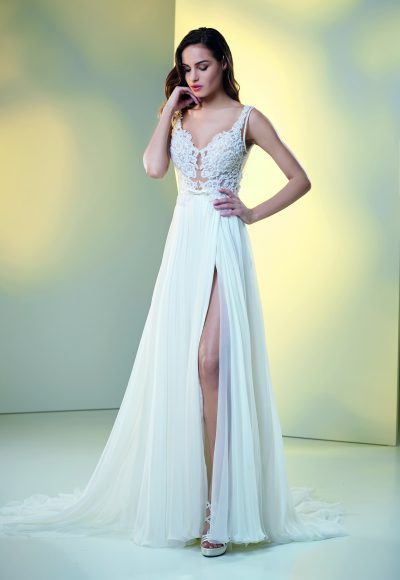 Lace And Embroidered Sheath Wedding Dress by Maison Signore