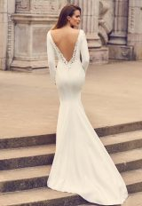 Bateau Neckline Long Sleeve Crepe Wedding Dress by Mikaella - Image 2