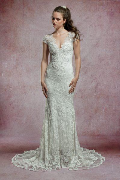 aecd57947 Beaded Cap Sleeve Lace Wedding Dress by Olvi's - Image 1