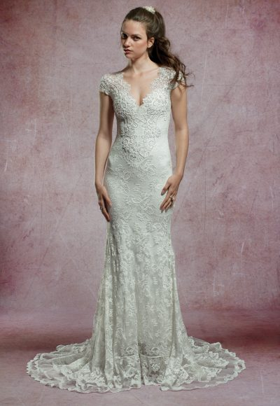 Beaded Cap Sleeve Lace Wedding Dress by Olvi's