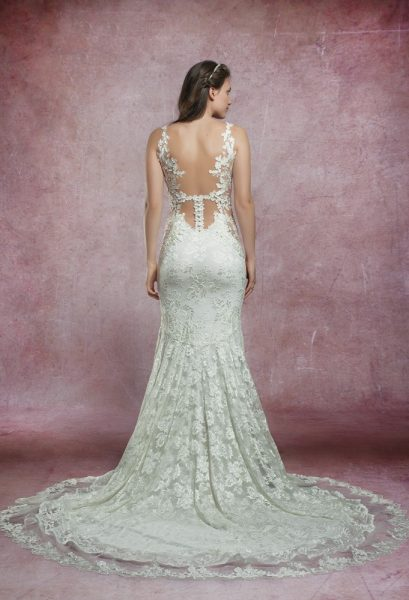 Mermaid Lace Embroidered Wedding Dress by Olvi's - Image 2