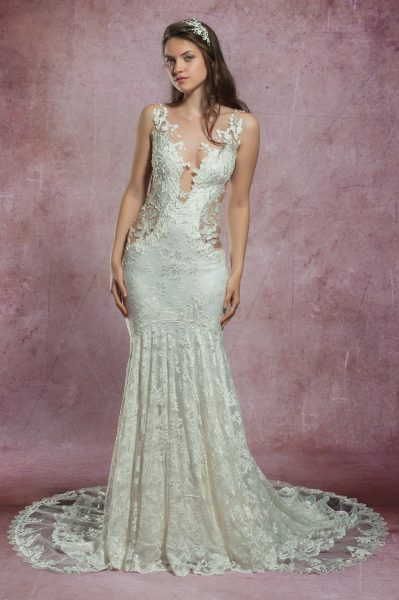 Mermaid Lace Embroidered Wedding Dress by Olvi's - Image 1