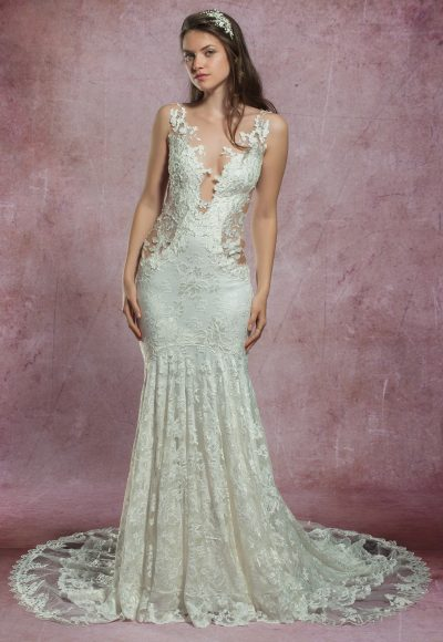 Mermaid Lace Embroidered Wedding Dress by Olvi's