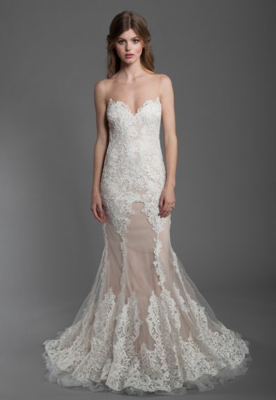 Sheath Lace Embroidered Wedding Dress by Olvi's