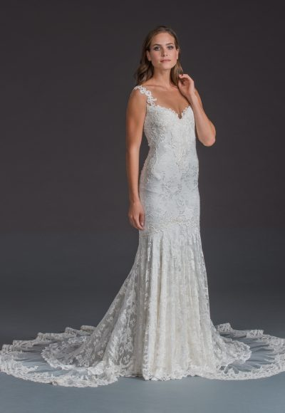 Sleeveless Lace Sheath Gown by Olvi's