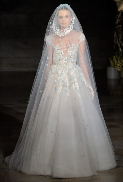 Illusion Sweetheart Lace Bodice A-line Wedding Dress by Reem Acra - Image 1