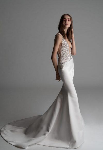 Plunging V-neck Fit And Flare Wedding Dress by Rivini
