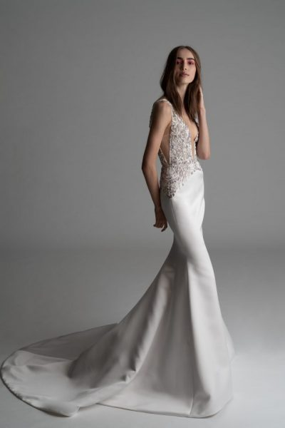 Plunging V-neck Fit And Flare Wedding Dress by Rivini - Image 1