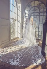 Lace Applique Spaghetti Strap A-line Wedding Dress by Sareh Nouri - Image 2