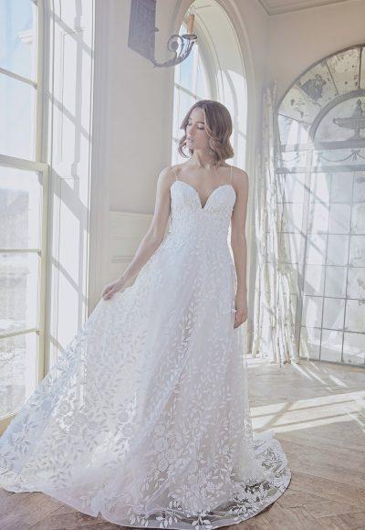 Lace Applique Spaghetti Strap A-line Wedding Dress by Sareh Nouri