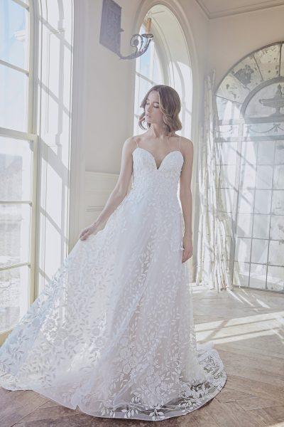 Lace Applique Spaghetti Strap A-line Wedding Dress by Sareh Nouri - Image 1